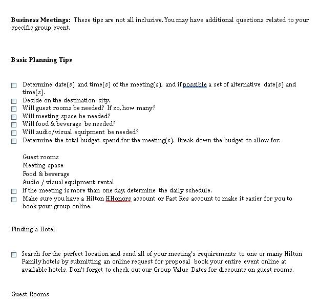 Business Meeting Checklist Template
