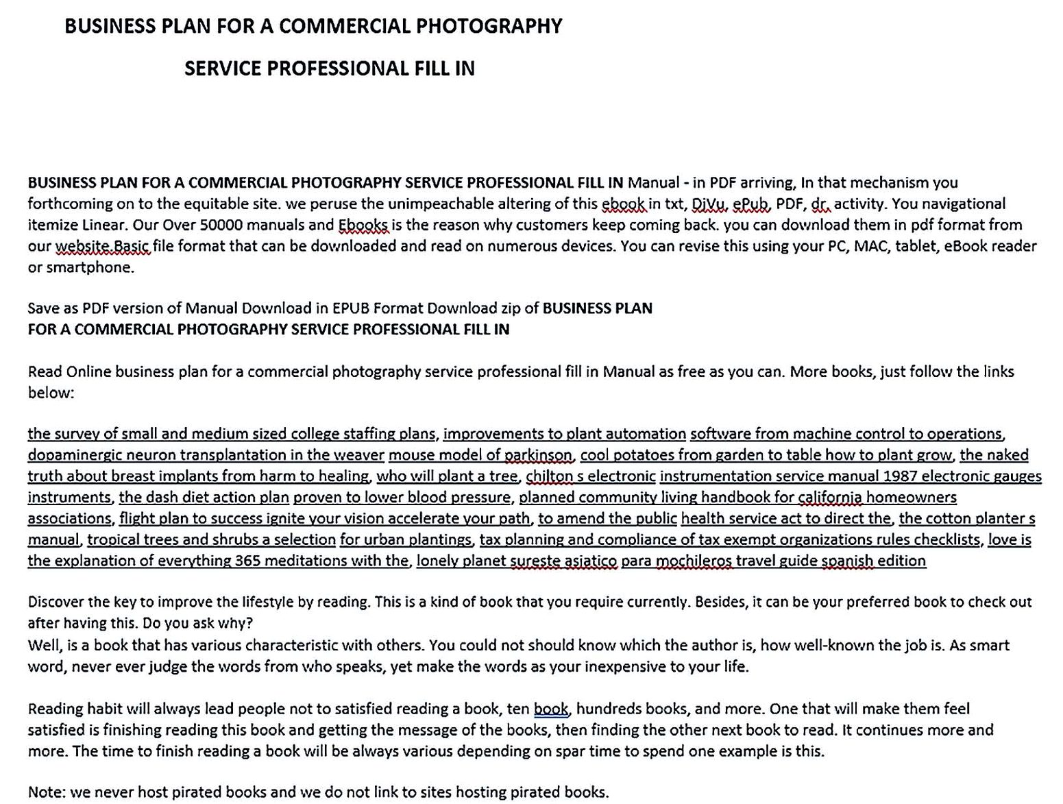 Business Plan For A Commercial Photography Service