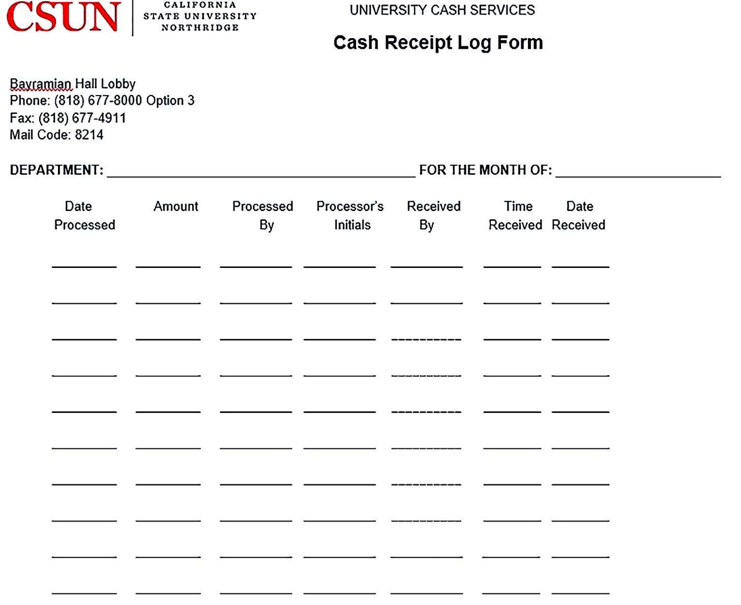 Cash Receipt Log Form
