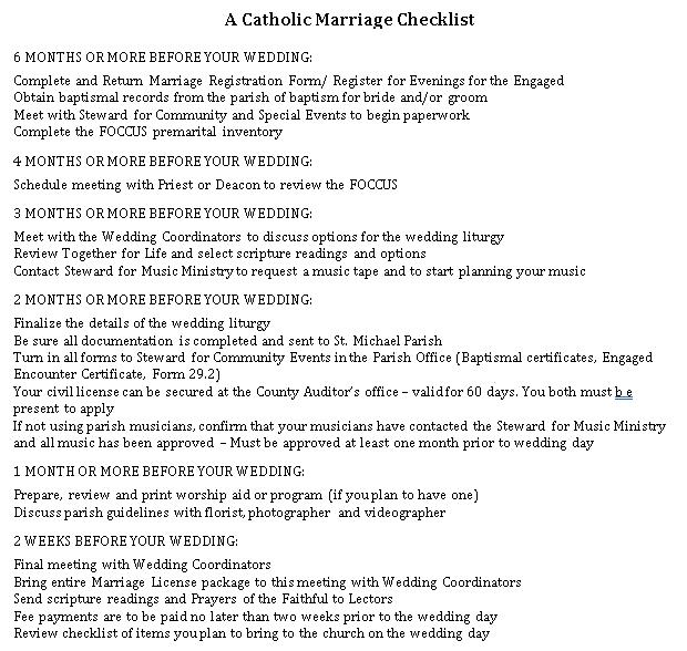 Catholic Wedding Checklist 1