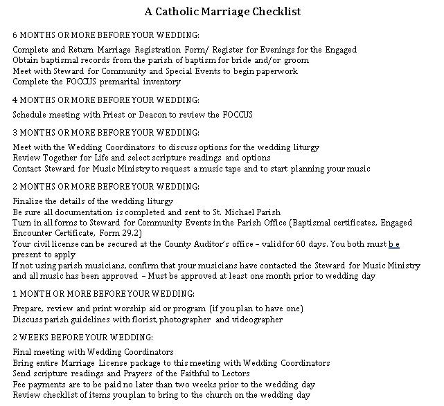 Catholic Wedding Checklist