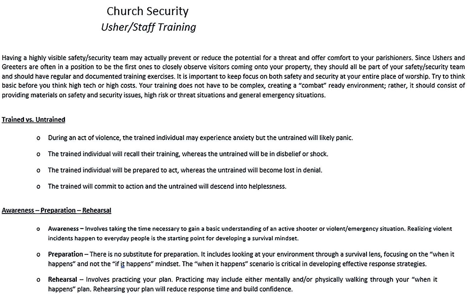 Church Security Plan in PDF