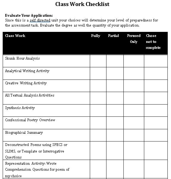Class Work Checklist