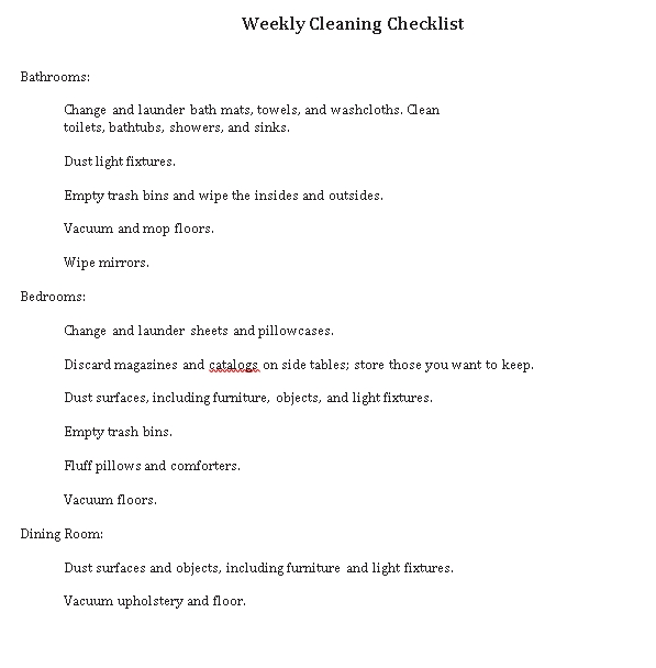 Cleaning Weekly Checklist Template