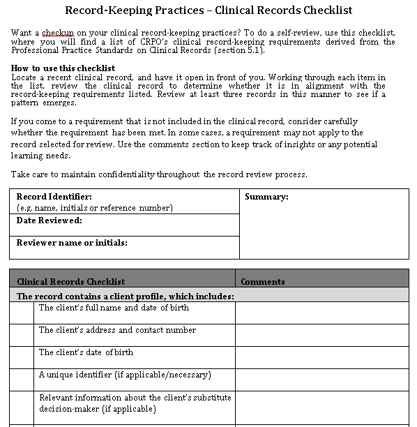 Clinical Records Checklist Template Example