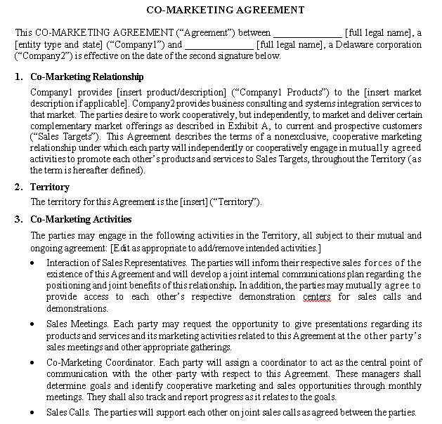 Co Marketing Agreement