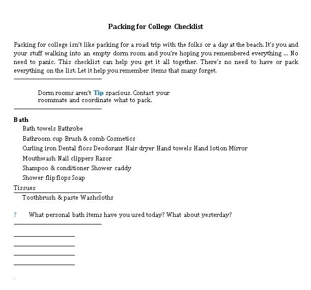 College Packing Checklist 1