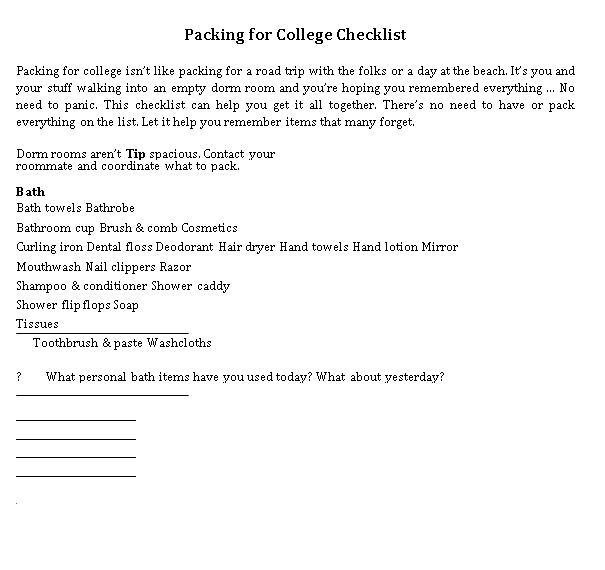 College Packing Checklist