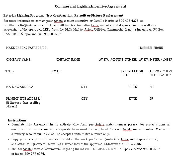 Commercial Lighting Agreement