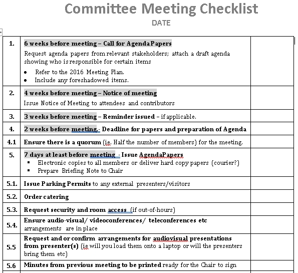 Committee Meeting Checklist