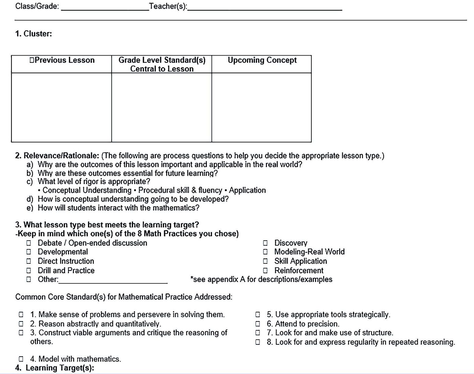 Common Core Math Lesson Plan Free Word Download