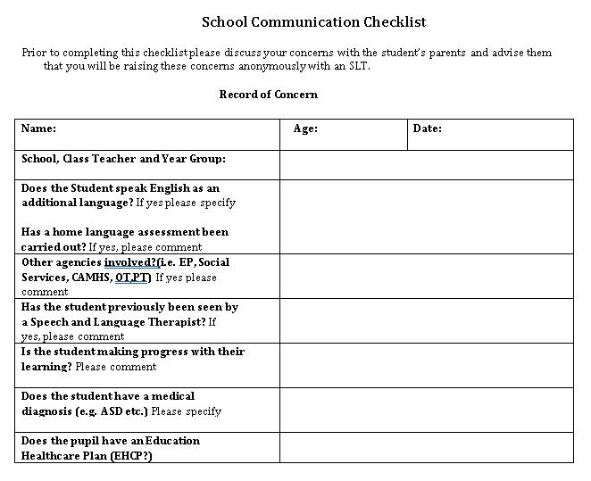 Communication School Checklist