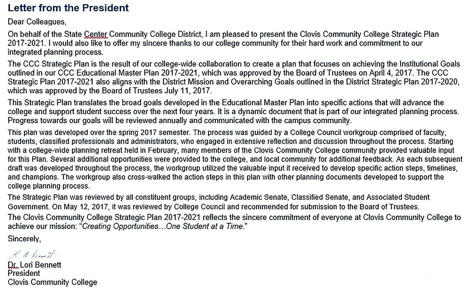 Community College Strategic Plan