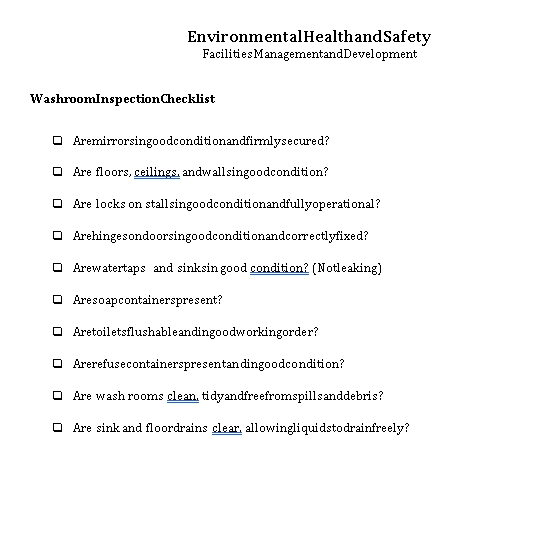 Compact Restroom Inspection Checklist Template