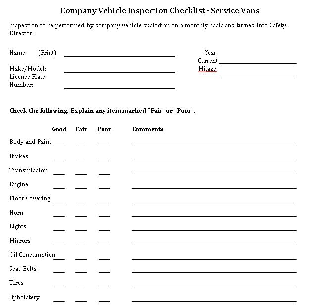 Company Vehicle Checklist