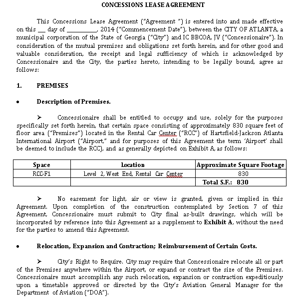 Concessions Lease Agreement for Bakery