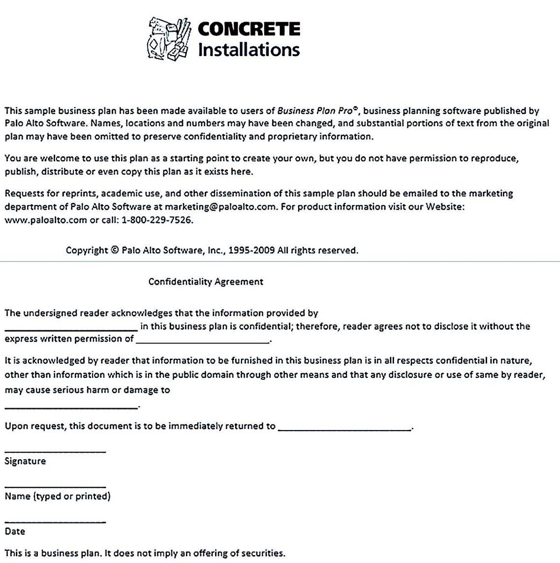 Construction Business Plan Template Pdf