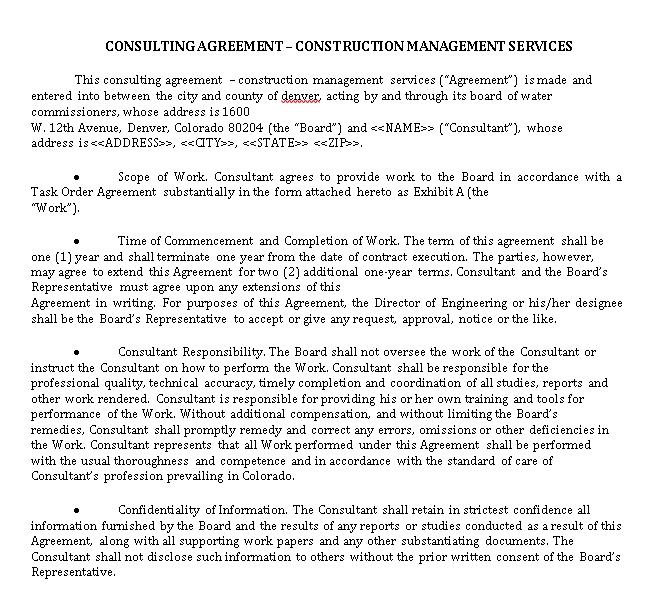 Construction Management Services Agreement