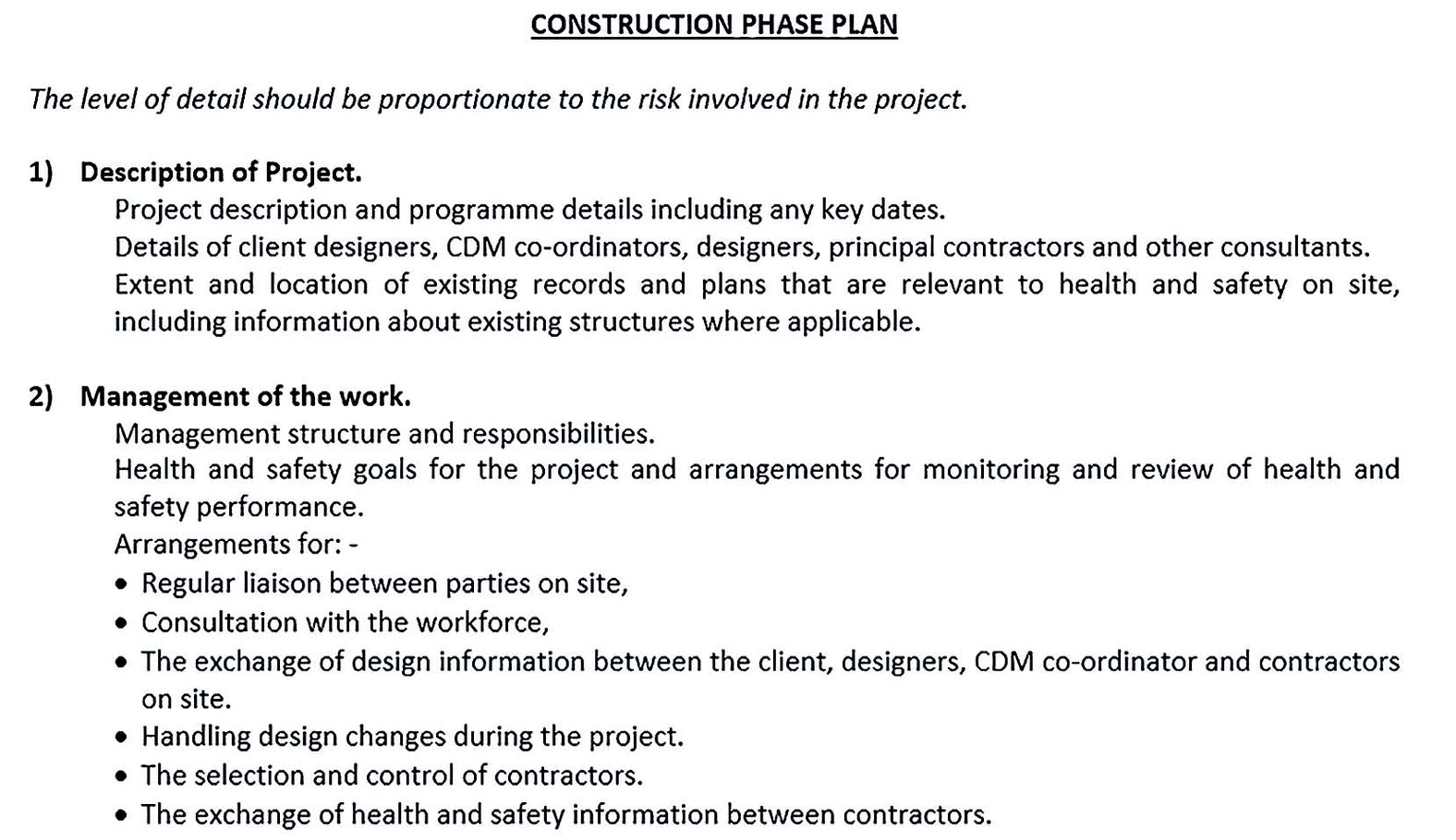 Construction Phase Plan Example