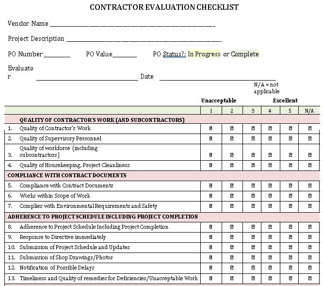 Contractor Project Evaluation Checklist