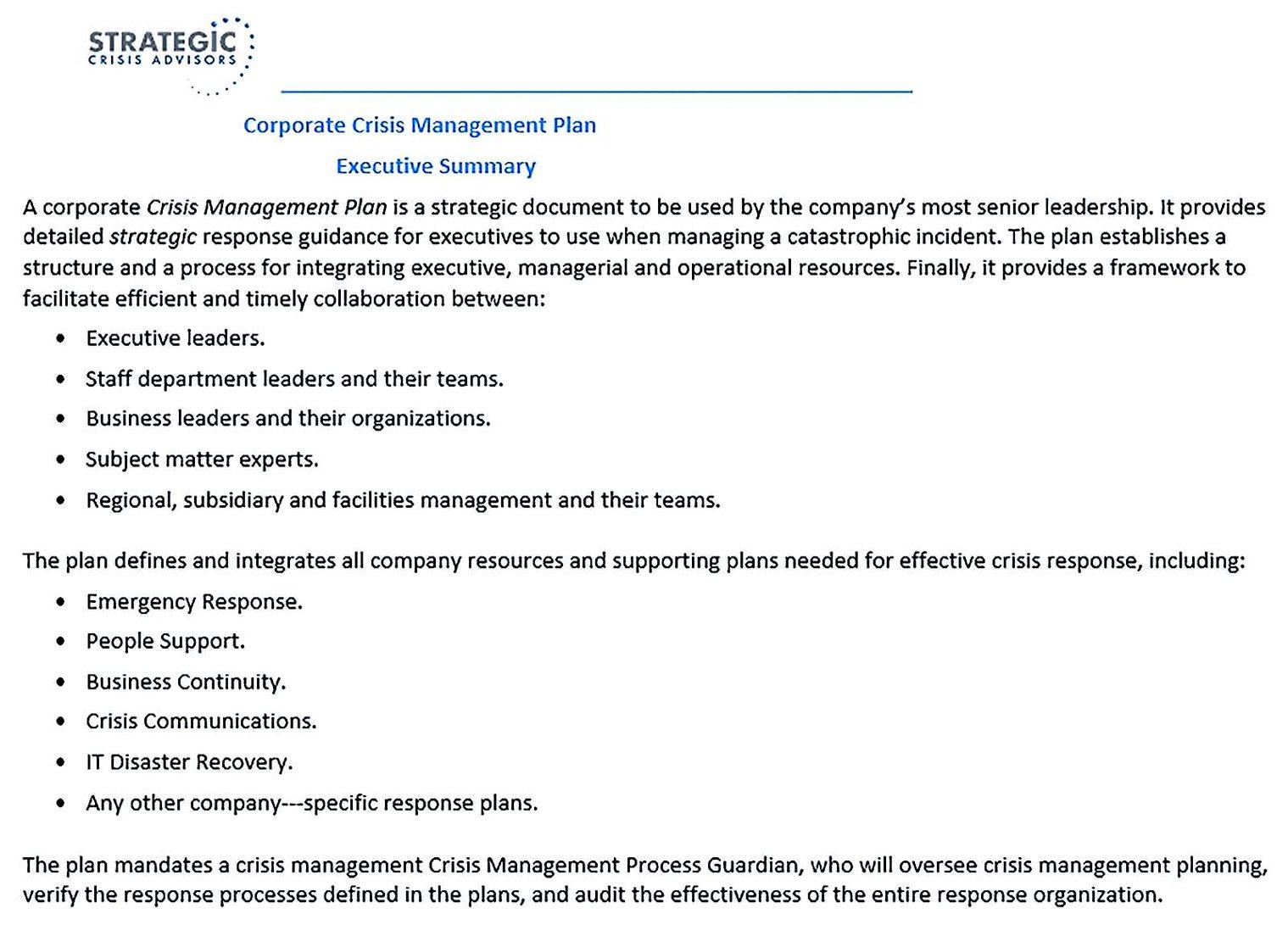 Corporate Crisis Management Plan