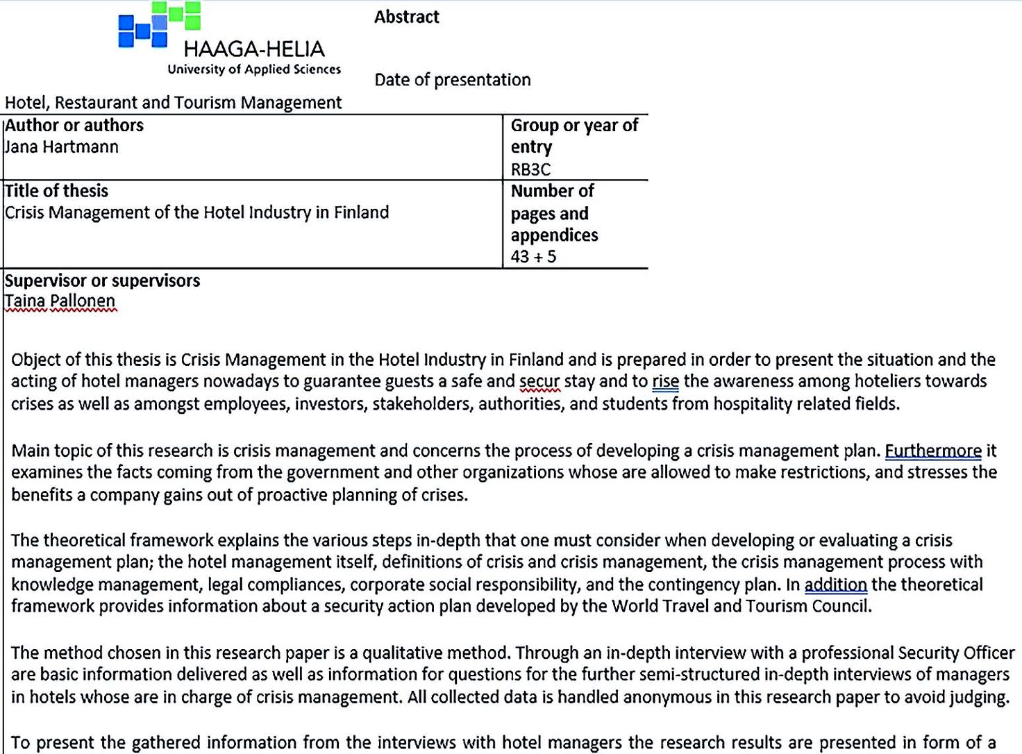 Crisis Management Plan for Hotel