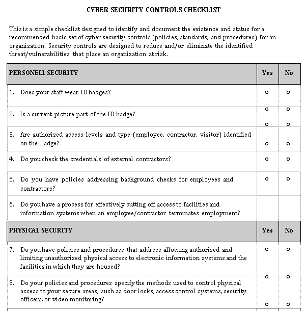 Cyber Security Threat Assessment Checklist