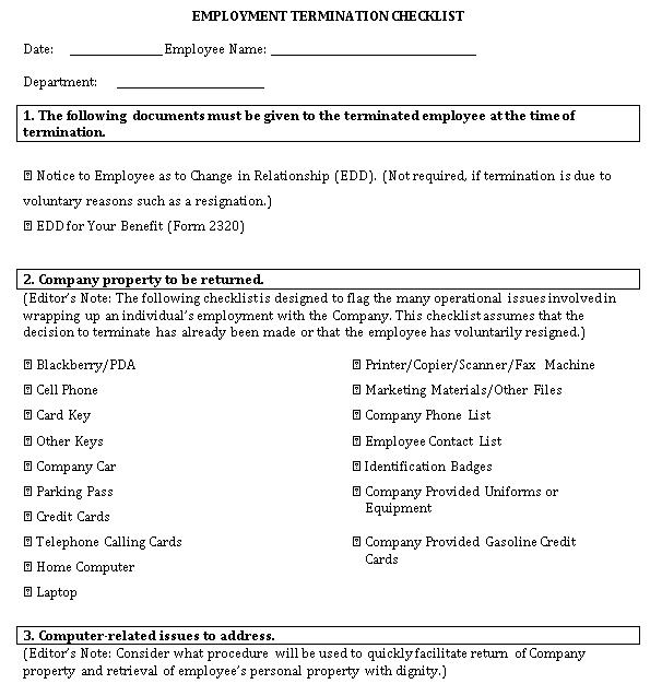DOC Format of Employment Termination Checklist Template