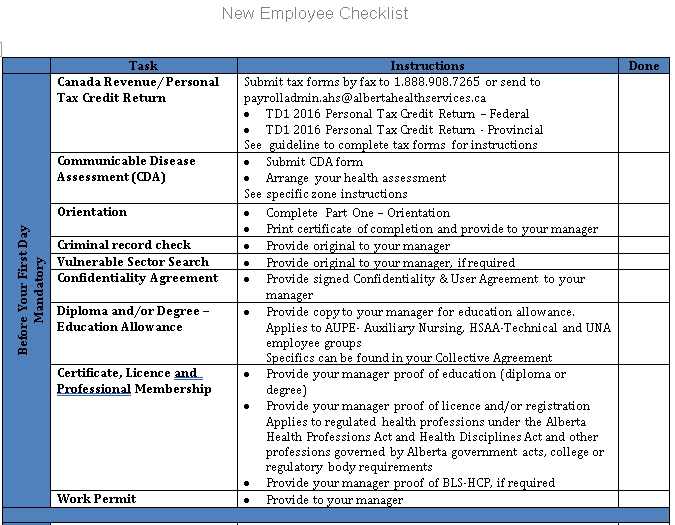 DOC Format of New Hire Employee Checklist Template