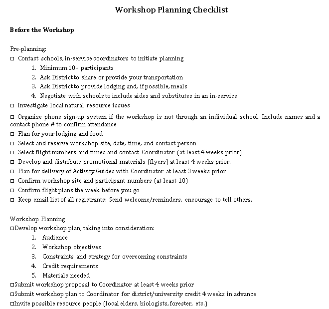 Daily Workshop Planning Checklist Sample