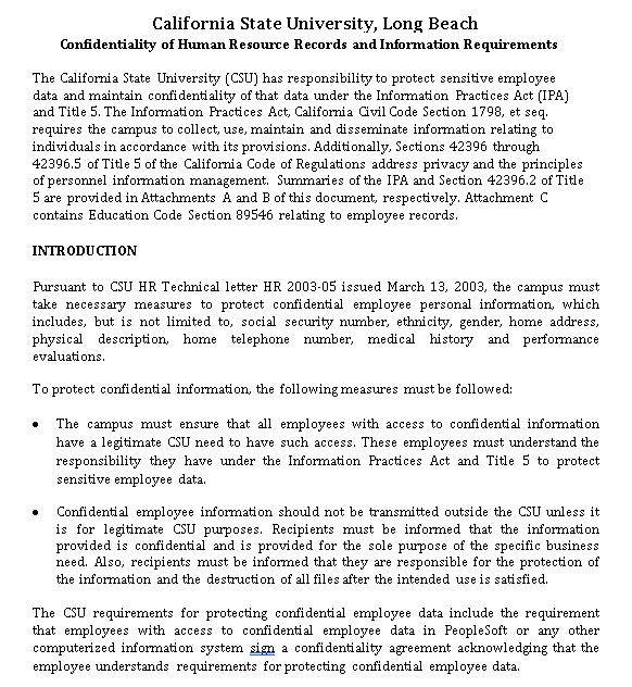 Data Human Resources Confidentiality Agreement