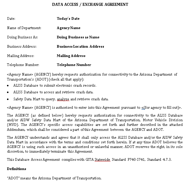 Database Access Exchange Agreement
