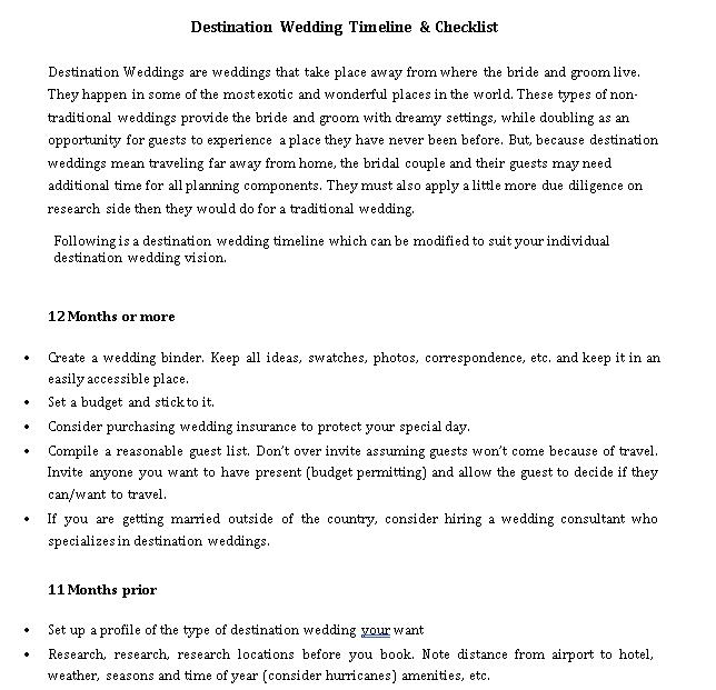 Destination Wedding Timeline Checklist