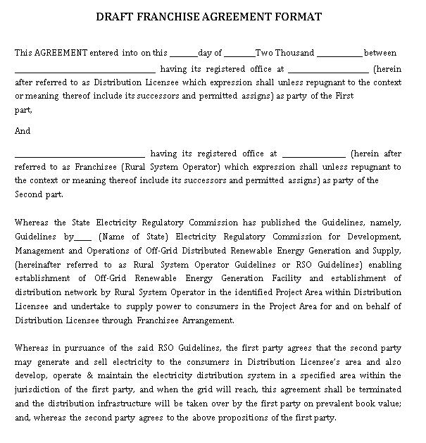 Draft Franchise Agreement