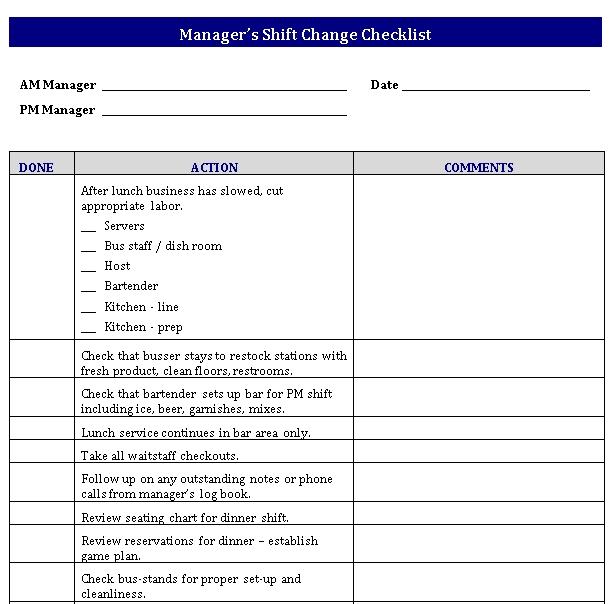 Editable Shift Change Checklist Template