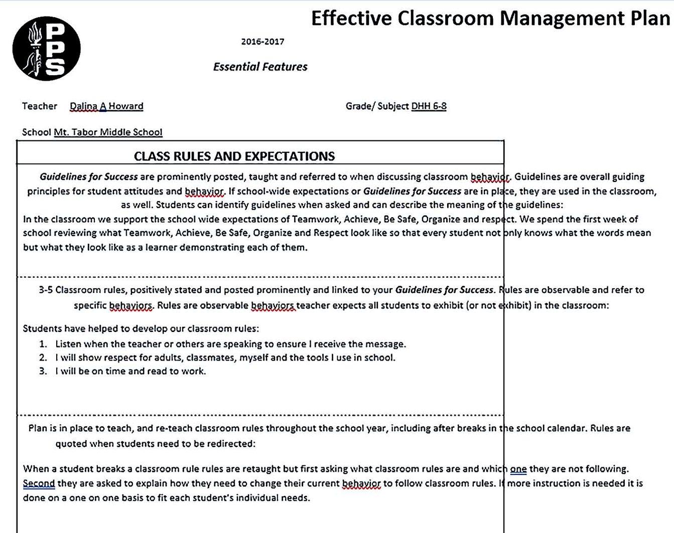 Effective Classroom Management Plan