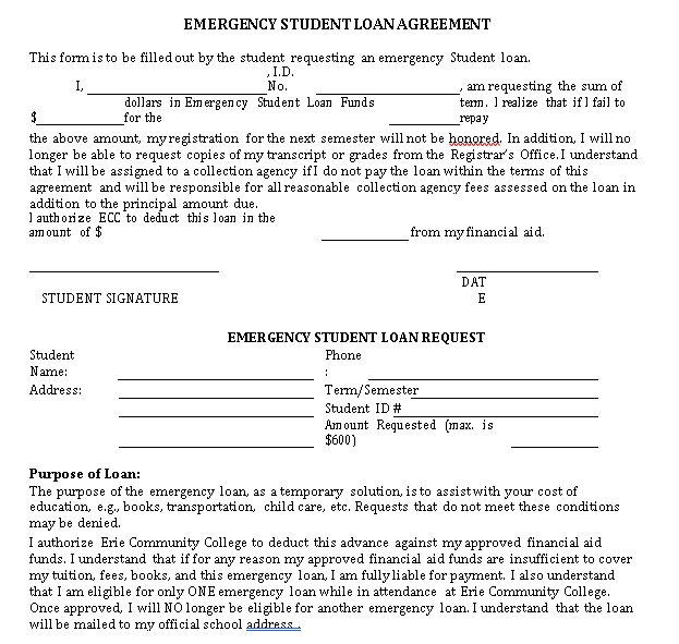 Emergency Student Loan Agreement