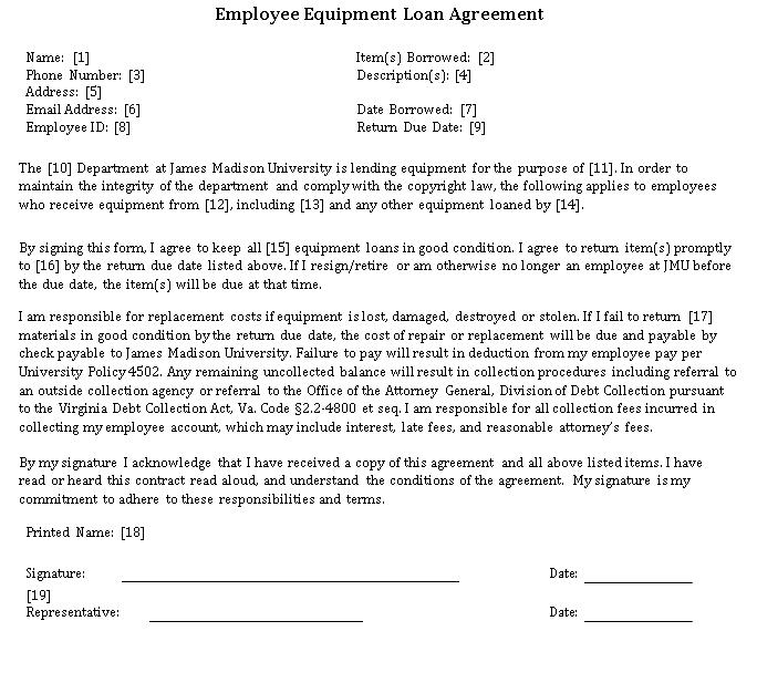 Employee Equipment Loan Agreement