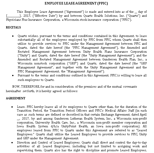 Employee Lease Agreement Template