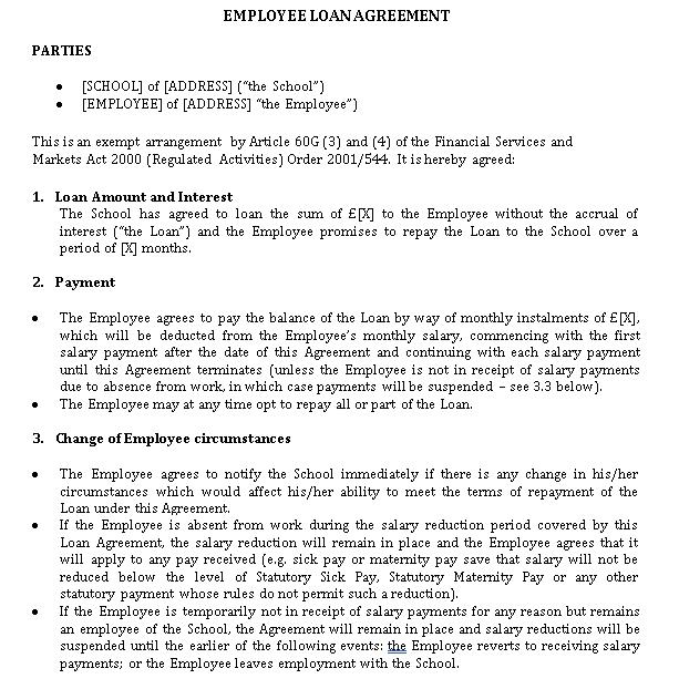 Employee Loan Agreement Example