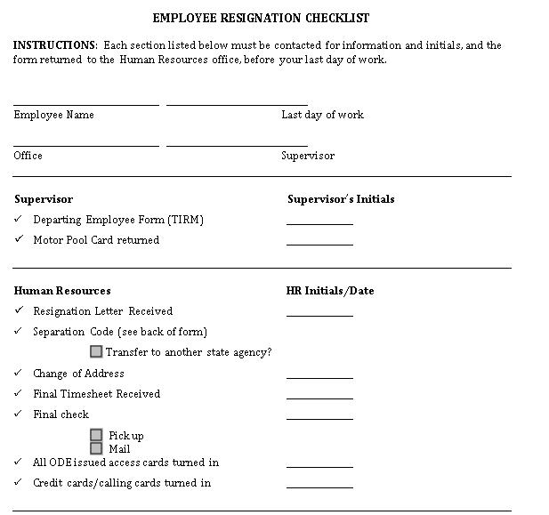 Employee Resignation Checklist Template