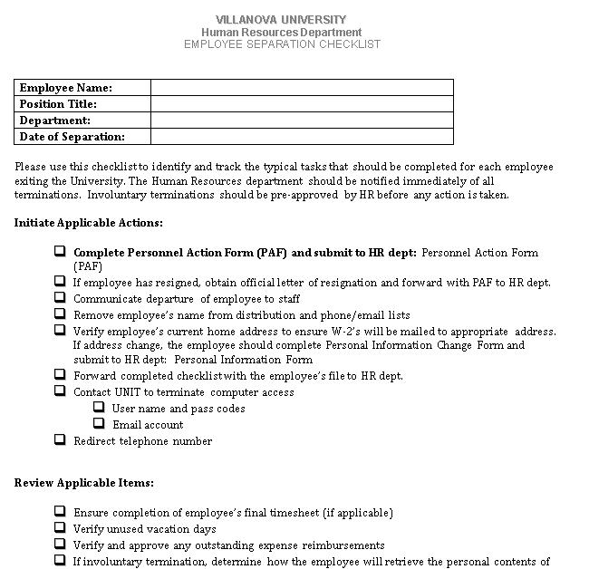 Employee Termination Checklist DOC Format