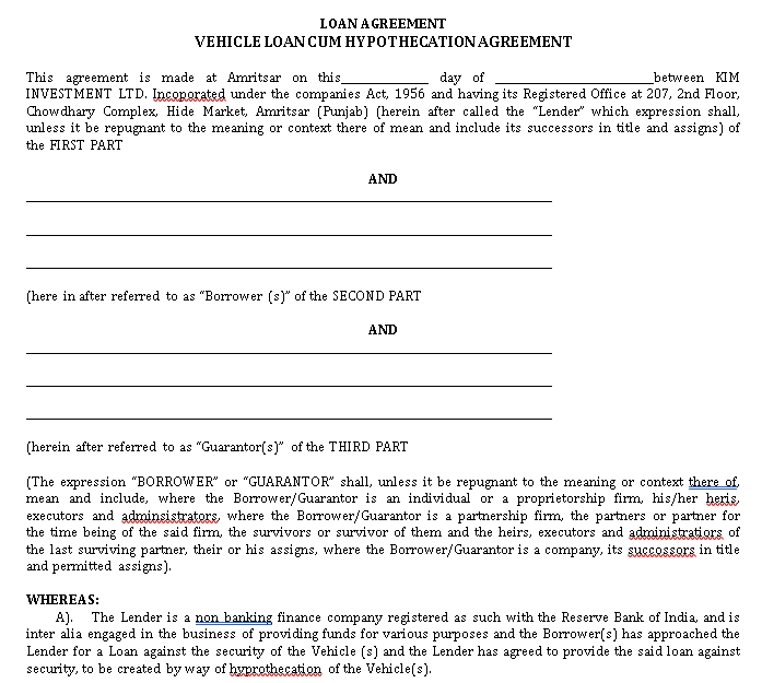Employee Vehicle Loan Agreement