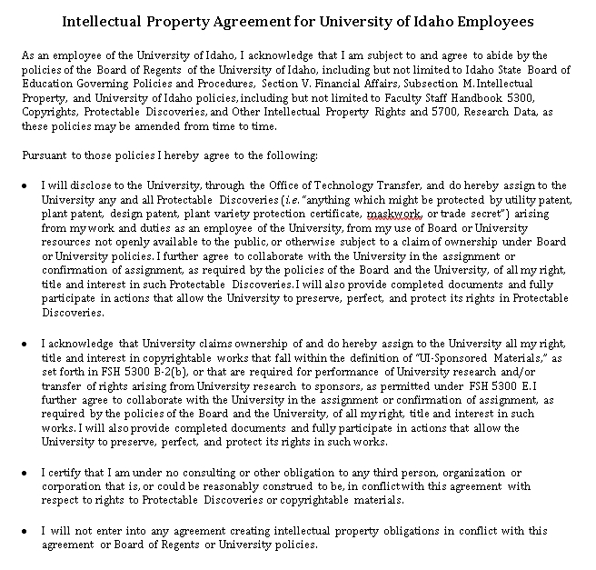 Employees Intellectual Property Agreement in PDF