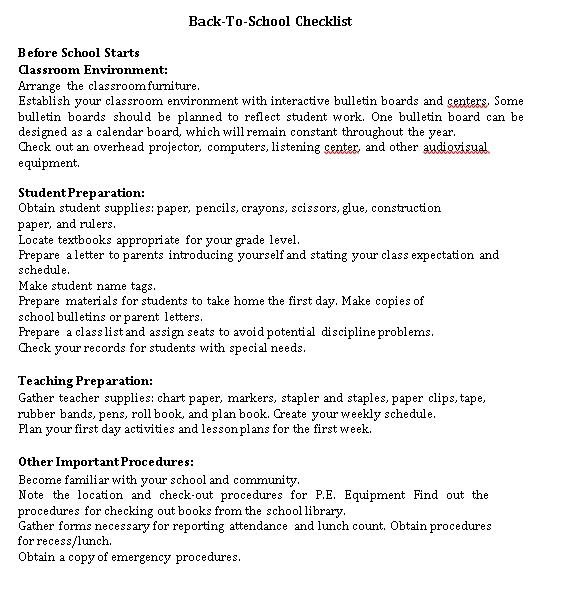 Environment School Checklist