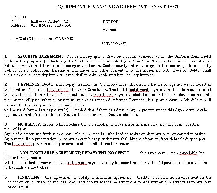 Equipment Finance Agreement