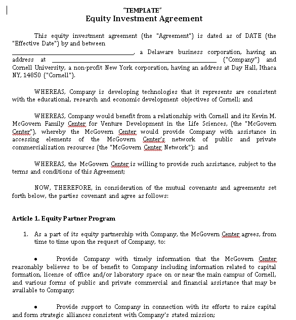 Equity Investment Agreement Template