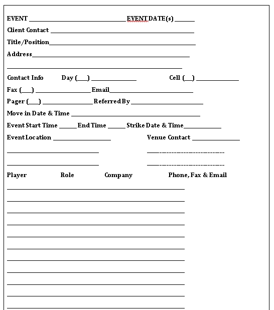 Event To Do Checklist Template