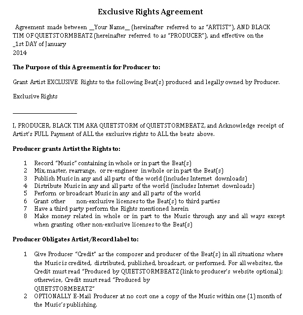 Exclusive Rights Agreement