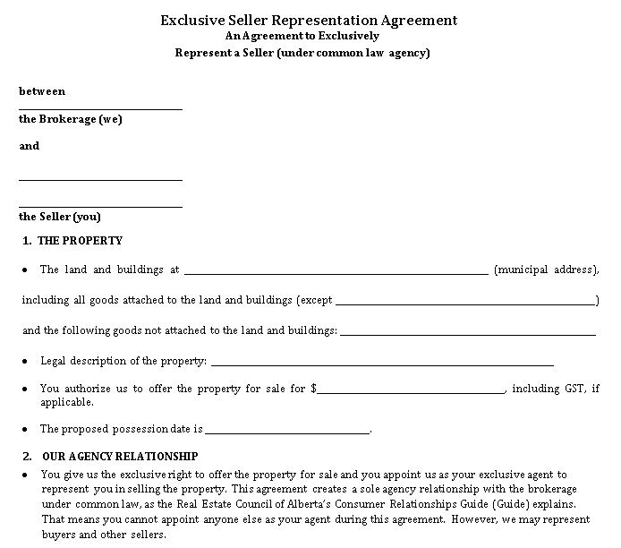 Exclusive Seller Representation Agreement